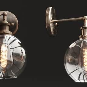 现代金属玻璃壁灯3D模型【ID:735668969】