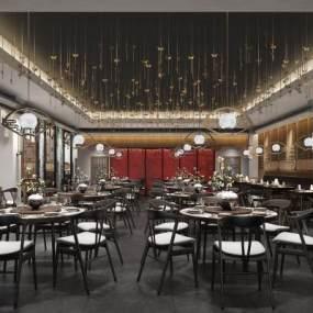 新中式餐廳3D模型【ID:643265215】