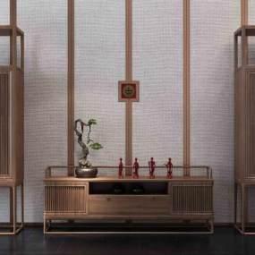 新中式禅意电视柜3D模型【ID:136232177】