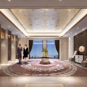 现代酒店奢华电梯厅3D模型【ID:744024677】