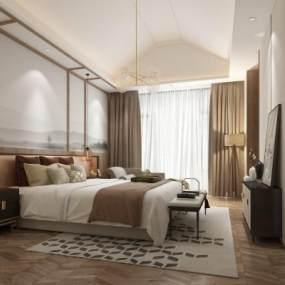 新中式酒店客房3D模型【ID:745535315】