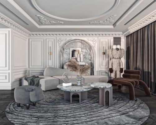 美式客厅 异行沙发 转角沙发