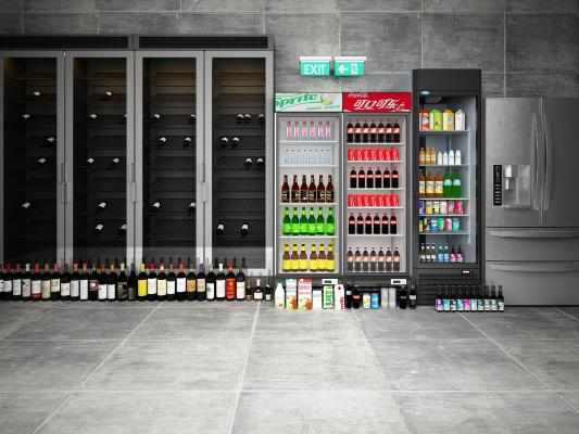 现代冰箱红酒保温箱3D模型【ID:230933667】