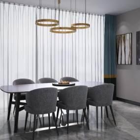 现代北欧餐桌椅3D模型【ID:836014859】