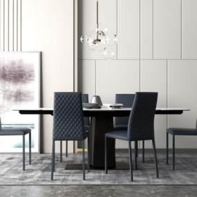 现代餐桌椅 3D模型【ID:842193815】