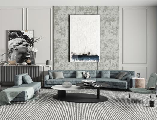 现代沙发茶几组合 多人沙发 美人榻