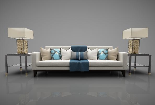 新中式装三人沙发家具3D模型【ID:643823602】