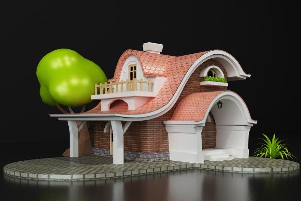 卡通别墅3D模型【ID:142253355】