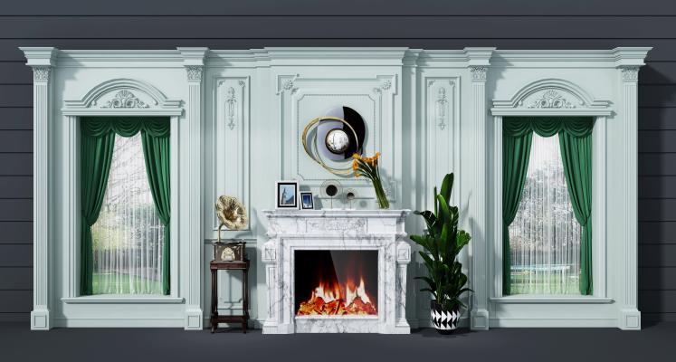 欧式简约壁炉背景墙3D模型【ID:334975671】