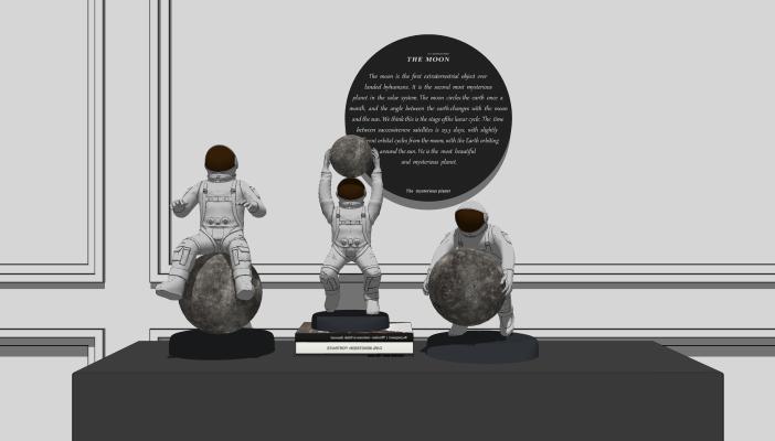 现代太空主题宇航员摆件SU模型【ID:953628776】