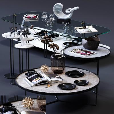 现代茶几圆几3D模型【ID:643693863】