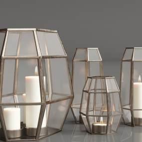現代金屬玻璃落地燈3D模型【ID:834186262】