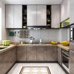 现代厨房3D模型【ID:537645391】