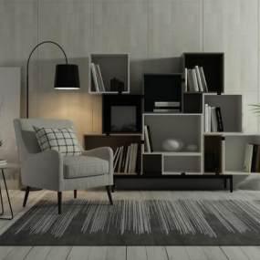 北欧单体沙发3D模型【ID:631215420】