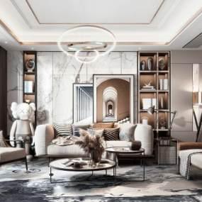 現代輕奢客廳雙人沙發3D模型【ID:644035531】