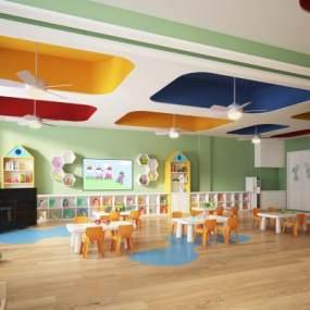 现代幼儿园教室3D模型【ID:935978697】