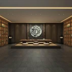 新中式茶室空间3D模型【ID:636244120】