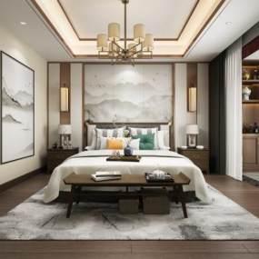 新中式卧室3D模型【ID:534763258】