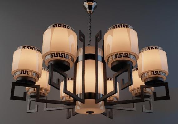 中式吊灯3D模型【ID:730748860】