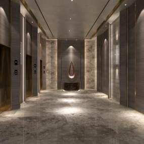 现代酒店电梯间3D模型【ID:734811603】