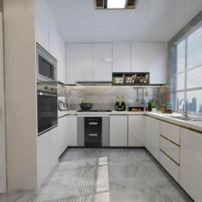 现代奢华厨房3D模型【ID:532011329】