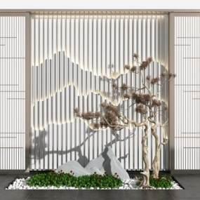 新中式假山松树背景墙3D模型【ID:149372404】