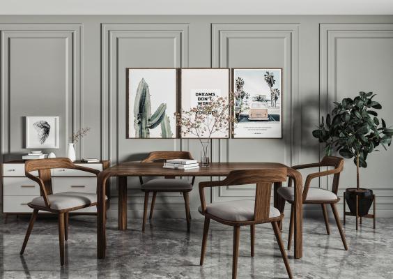 北欧餐桌椅 边柜组合 原木餐桌椅 装饰画