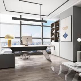 现代总经理办公室3D模型【ID:950971029】