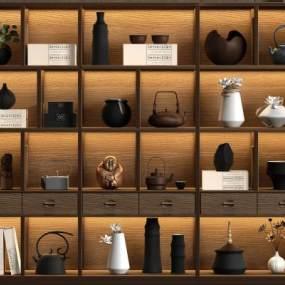 新中式实木装饰柜3D模型【ID:146581172】