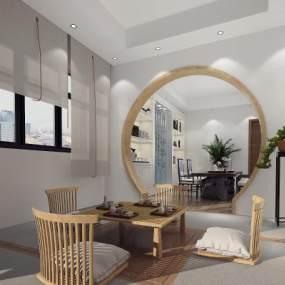 新中式茶室书房3D模型【ID:630976172】