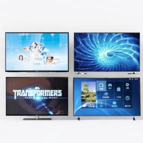 现代电视柜弧形电视机3D模型【ID:230606676】
