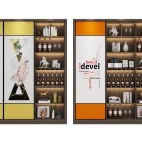 现代北欧酒柜组合3D模型【ID:633051229】