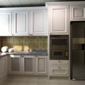欧式整体厨房3D模型【ID:534475332】