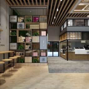 现代咖啡奶茶面包店3D模型【ID:646223636】