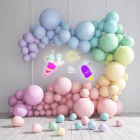 现代气球合影区网红背景墙霓虹灯3D模型【ID:232375550】