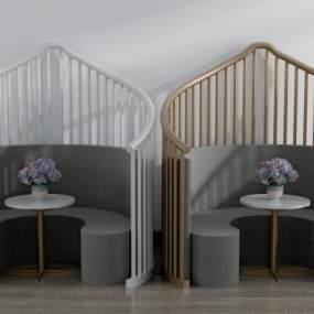 现代弧形卡座沙发3D模型【ID:635721983】