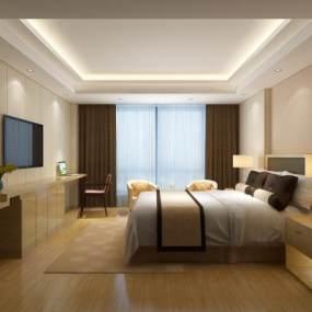 新中式酒店客房3D模型【ID:751031308】