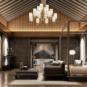 新中式酒店客房3D模型【ID:732158384】