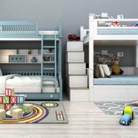 现代儿童上下床上下铺玩具组合3D模型【ID:830538823】