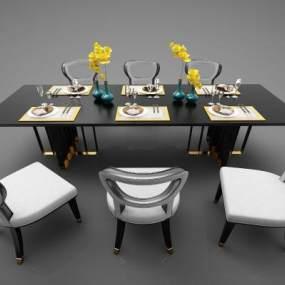新中式風格餐桌3D模型【ID:844151821】