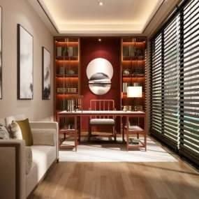 新中式家居书房3D模型【ID:536025428】