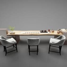新中式风格茶桌3D模型【ID:844457991】