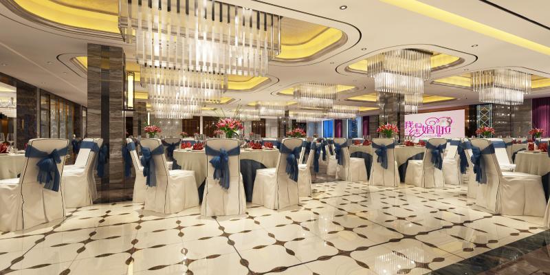 现代酒店宴会厅3D模型【ID:731810271】