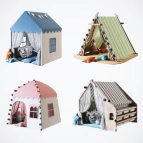 現代兒童帳篷房屋組合3D模型【ID:352579422】