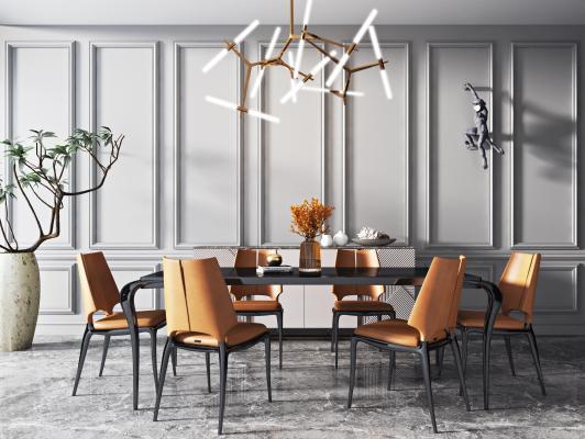 現代輕奢餐桌椅組合3D模型【ID:745168106】