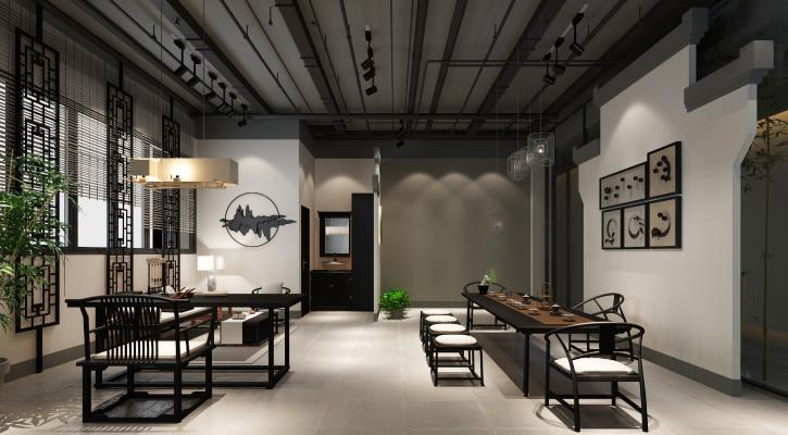新中式茶室3D模型【ID:646221684】