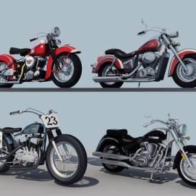 现代摩托车组合3D模型【ID:430747789】