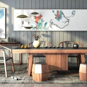 新中式茶室桌椅组合3D模型【ID:632012151】