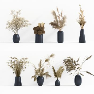 現代干花花瓶擺件組合3D模型【ID:251173537】
