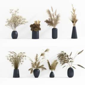 现代干花花瓶摆件组合3D模型【ID:251173537】